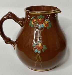 Vintage G & S LTD. BURSLEM Made in England Handpainted Brown Pitcher Teapot