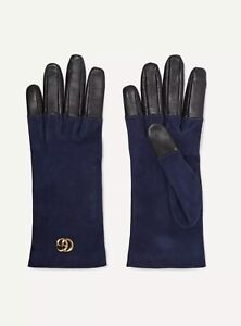 NWT Gucci Viola Blue Suede & Black Leather GG Marmont Gloves Size M/7.5 $630.00