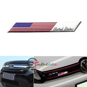 Aluminum Plate American US Flag Emblem Badge For Car Front Grille Side Fender