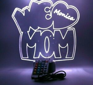 We Love Mom Night Light Up Table Lamp LED Personalized Free Engraved and Remote