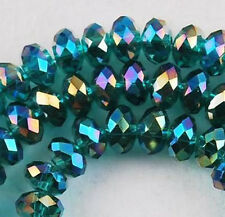 100 PCS, 4 X 6 mm Faceted Peacock Green Crystal Gemstone Abacus Loose Beads
