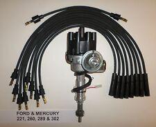 FORD 221-260-289-302 BLACK Small Female Cap HEI Distributor & Spark Plug Wires