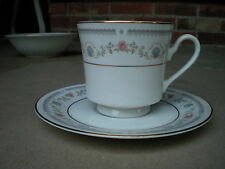 Sango China TiVoli 8305 Cup and Saucer Pink Rose and Blue Shell