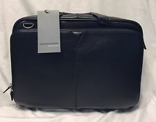 New Johnston & Murphy Leather Zip Top Brief Black 46-11101 SRP $450
