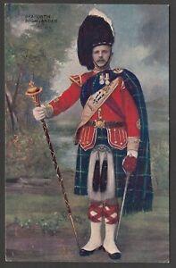 Postcard Seaforth Highlander uniform Military Art early Scottish kilt