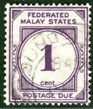 MALAYA FMS Stamp SG.D1 1c POSTAGE DUE (1924) VFU Used CDS Cat £50+ LBLUE56