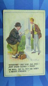 WW1 Donald McGill Military Comic Postcard Registration Form BRASS FINISHER