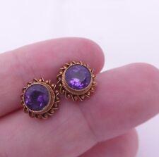 Fine pair of 9ct/9k gold 1ct amethyst vintage stud earrings, 375