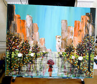 "Original Artwork Abstract Girl in the City Painting 20""x16"""