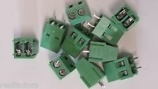 """20 x 5mm 0.2"""" 2 pole pin wire terminal block screw through hole connector mount"""