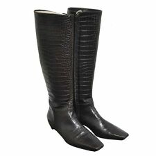 Authentic Christian Dior Brown Embossed Alligator Skin Boots