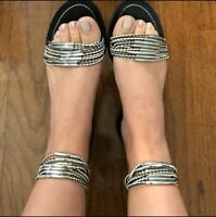 Tory Burch Mignon Ring Sandals Black/Ivory Size 7