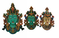 Tibet Tibetan Buddhism Green Tara Face Mask Wall Hanging Resin Statue Handmade