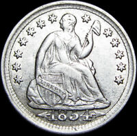 1854 Seated Liberty Half Dime Silver US Coin  ---  STUNNING Type Coin --- #F630