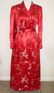 EUC Vintage 1950s Red Satin Damask CHINESE Long BATHROBE S/M