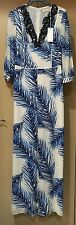 NWT $895 Tory Burch Baltic Sea Feather Print Embelished Neck Maxi Dress Size 0