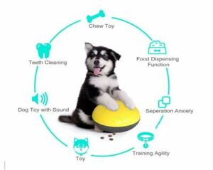 Dog Food Dispenser Squeaky Dog Toys Ball Interactive Dog Puzzle Pet For Chewers