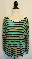 TRENERY ~ Turquoise Navy Stone Striped Dropped Shoulder Lyocell Relaxed Top XXL
