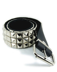 Rock Metal Punk 3 Row Pyramid Stud Black Leather Belt.