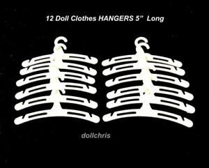 """Vintage Lot of 12 Doll Clothes Hangers 5"""" Size for 14-18 inch Dolls White New"""