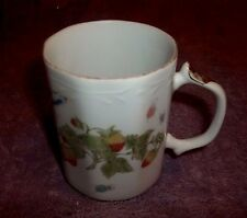 "Fluted 8 Sided Mug Cup Straberry's and Butter flys Gold Trim 2 3/4"" Wide"