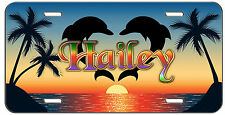 PERSONALIZED CUSTOM VANITY LICENSE PLATE SUNSET HEART DOLPHINS AUTO TAG