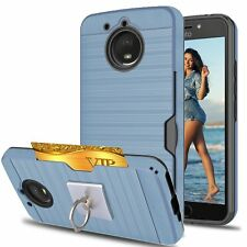 Motorola Moto E4 Plus Case Credit Card Slots Holder Full-Body Shockproof Shell