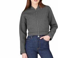 Everlane Womens Street Fleece Gray Bomber Zip Up Pocket Jacket Small