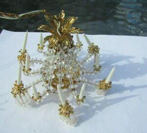 Dollhouse Miniature Chandelier Crystal Ornate 12 Arm Light Tucker Artisan VTG