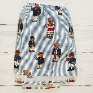 Ralph Lauren Polo Teddy Bear University Sport Preppy TWIN Bedskirt Dust Ruffle
