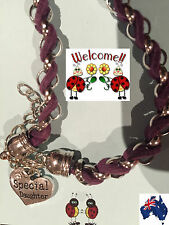 PURPLE SILVER INTERTWINDED SPECIAL DAUGHTER BRACELET GREAT GIFT IDEA AUS 152W
