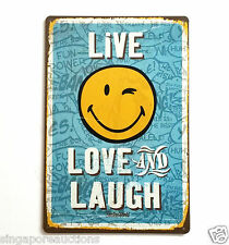 COLLECTIBLE VINTAGE THEMED SIGN: SMILEYWORLD LIVE, LOVE AND LAUGH BEST PRICE!