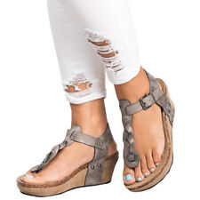 Women Wedge Sandals T Strap PU Thong Gladiator Flat Flip Flop Buckle Strap Shoes