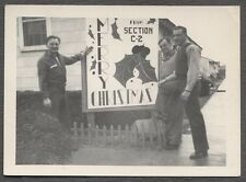 Vintage Snapshot Photo Men w/ Merry Christmas Sign on Military Base 691897