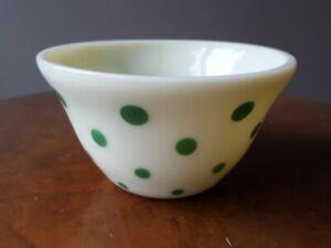 *RARE* McKee Glass Green Dot Custard Milk Glass Nesting Bowl 7 Inch