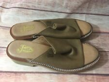 JUSTIN Brown Leather Sandals Shoes L0009 Tekno Crepe Women's US Size 9.5 NICE