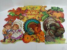 Vintage Lot Of 6 Eureka Diecut Cardboard Thanksgiving Decorations