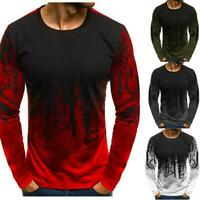 Men's Casual Camouflage Long Sleeve Loose T-shirt Crew Neck Tops Autumn Fitness