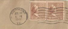 1947 Richmond, Virginia Cancel on Cover w Joint Line Pair, 1&1/2¢ Prexie Stamps~
