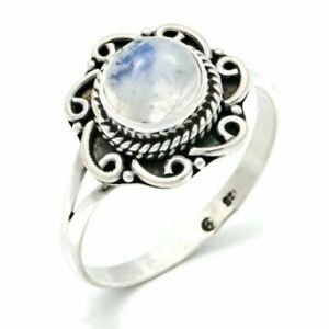 925 Handmade Solid Silver Ring Moonstone Cabochon Stone Rings Natural Gemstone