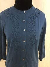 Charter Club Petite Blue Button Down Women's Cardigan Sweater Size PM