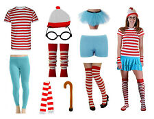 Adults & Kids Red White Striped Fancy Dress Book Nerd Costume Party Accessories