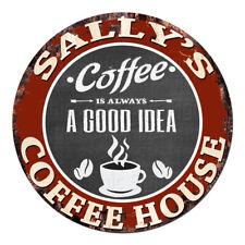CPCH-0167 SALLY'S COFFEE HOUSE Chic Tin Sign Decor Gift Ideas