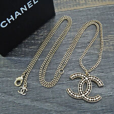 CHANEL Gold Plated CC Logos Charm Vintage Chain Necklace Pendant #5753a Rise-on