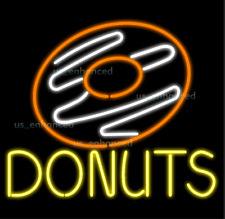 "New Sweet Donuts Shop Open Bar Light Beer Decor Real Glass Neon Sign 32""x24"""