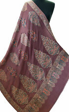 Wine Red Shawl Large Hand-Cut Kani Gold Jamavar Paisley Wool with Fine Details