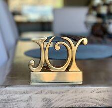 Target Gold Brass Joy Christmas Tea Light Candle Holder Heavy Base Decor