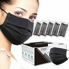 50/100 PCS Black Disposable Face Mask Non Medical 3-Ply Earloop Dust Cover Masks