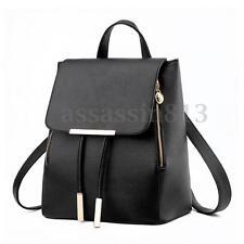 Women Lady Leather Travel Satchel Shoulder Backpack School Rucksack Bag Black