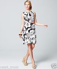 AGB Floral-Print Belted Dress, Black/White, 8